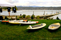 SUP lining up on the shore of Hood Canal
